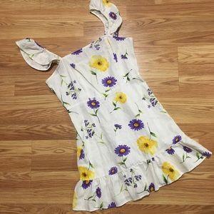 Ruffle Sleeve Linen Floral Dress
